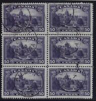 Canada Sc #226 (1935) 50c Dull Violet Victoria Parliament Used Block VF