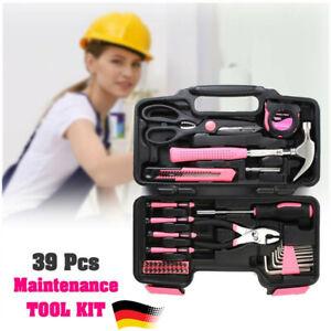 39 Teiliges Werkzeugset Werkzeugkasten Werkzeugkiste Werkzeugkoffer in Pink
