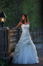 Stock New White/Ivory lace Strapless Wedding Dress Bridal Gown size 6-16