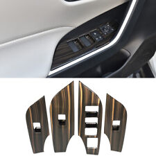 Peach Wood Grain Door Armrest Window Buttons Trim 4pcs For Toyota RAV4 2019-2020