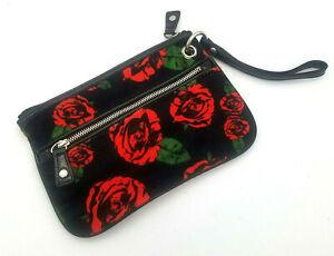 Retro Bag Purse Clutch Betsey Johnson Black Red Rose Floral Pinup Wristlet