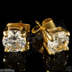 18k IP Gold Plated Stainless Steel Silver Out Iced Round Clear CZ Stud Earrings
