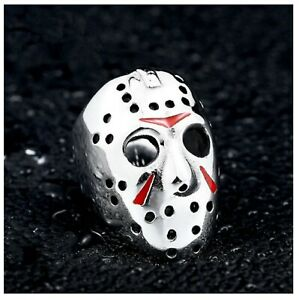 Mens Ring Jason Hockey Mask Ring Friday 13th Horror Halloween