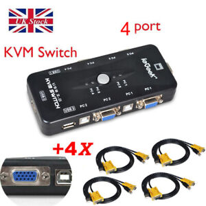 4-Ports USB 2.0 VGA KVM Switch Box Adapter for PC Monitor Keyboard+4Cables Royal