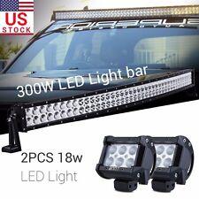 "2x 18W + 40"" 300W Curved Flood Spot LED Work light Bar Offroad Driving Car SUV"