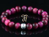 Tigerauge 925er sterling Silber Armband Damen Bracelet Perlenarmband pink 8mm
