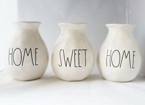 Rae Dunn HOME SWEET HOME Bud Flower Vases Set of 3 Housewarming Gift Farmhouse