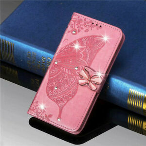 Leather Wallet Diamond Butterfly Card Case For Samsung S21 S20 S10 S9 Note20 9 8
