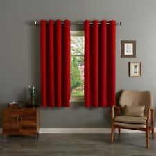 READY MADE Thermal Blackout EYELET RING TOP Curtain Pair, FREE Matching Tie Back