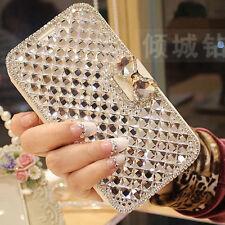 White Luxury Crystal Bling Diamond Flip Leather Case For Various Phone