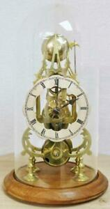 Antique English 8 Day Single Fusee Passing Strike Skeleton Clock With Glass Dome