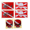 Set of 6pcs Skull Fish Bone Stickers Decals for Scuba Diving Tank Flippers