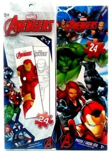1 Marvel Avengers Coloring Puzzle 2 in 1 & Jigsaw Puzzle 24 Piece Kids Toys New