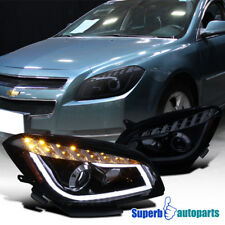 Glossy Black LED Daytime Lamps Tube Bar Projector Headlights 08-12 Chevy Malibu