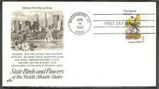 US SC # 1982 State Birds And Flowers ( New Jersey ) FDC . Artcraft Cachet