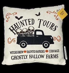 """Halloween Haunted Tours Vintage Truck Skeleton Plaid Throw Pillow Decor 12"""""""
