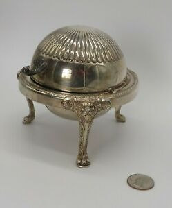 Vintage F B Rogers Silver Company 3 Footed Butter Bell with Ornate Lions Head