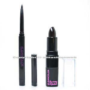 2 Pcs New Kleancolor 1 Eye Lip Liner Black + 1 Black Lipstick LINERK14
