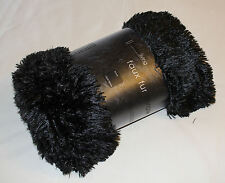 Hotel Living Black Faux Fur Soft Shaggy Throw Rug 130cm x 160cm New