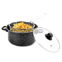 Deep Fat Fryer Set Black Marble Finish Look Chip Pan Non Stick Cooking Ø 24cm 9""