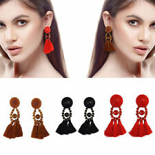 Boho Long Tassel Earring Women Statement Bead Crystal Hanging Fringing Drop Gift