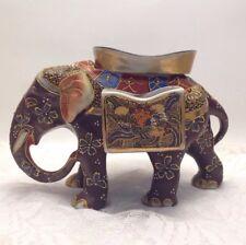 Old 1920's Satsuma Elephant Ashtray Cigarette Match Holder Hand Painted