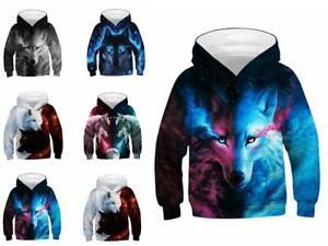Kinder Mädchen Jungen Pullover Kapuzenpullover 3D Wolf Hoodie Mantel Jacken