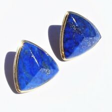 Estate 14k Yellow Gold Pyramid Form 42ct Lapis Lazuli Large Post Earrings