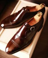 Mens Handmade Superb Brown Leather Shoes With Buckle, Men dress formal shoes