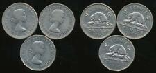 Canada, Group of 3 Elizabeth II 5 Cent Coins (1961, 1962, 1963) - Fine