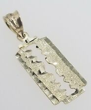 Real 14K Yellow Gold Barber Shaving Razor Blade Keyhole Vintage Charm Pendant