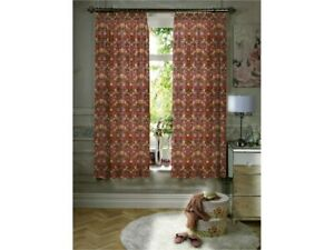 Gallery William Morris Strawberry Theif Red Minor Lined Curtains & Tiebacks