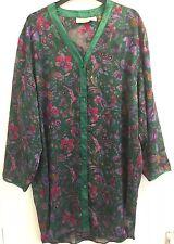 Victoria Secret Vintage Verde Floral Satén's Camisón/Camisa Lencería M/L