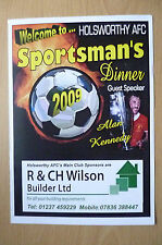 HOLSWORTHY AFC SPORTSMAN'S DINNER MENU: with ALAN KENNEDY, 24/10/2009