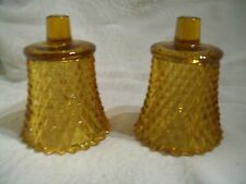 2 Vintage Home Interior Amber Diamond Point Votive Cups, Candle Holder