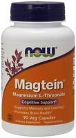 NOW Magtein 90 Veg Capsules Magnesium L-Threonate Promotes Brain Health 02/2021