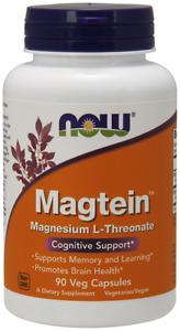 NOW Magtein 90 Veg Capsules Magnesium L-Threonate Promotes Brain Health 07/2023