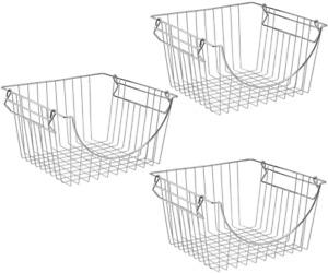 Sanno Stackable Wire Basket Bin Stacking Wire Baskets For Home Kitchen Storage,