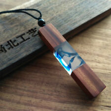 Vintage Resin Wood Color Random Colorful Pendant Handmade Chain Necklace Rope ID