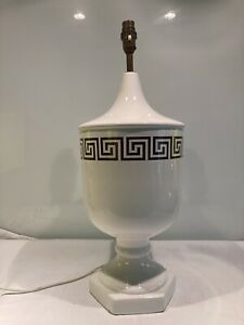 Large 1970s Casa Pupo Style Greek Key Decorated Pottery Urn  Table Lamp