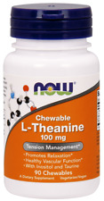 NOW Foods Chewable L-Theanine 100mg 90 Chewables Chews Taurine Inositol 05/21