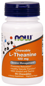 NOW Foods Chewable L-Theanine 100mg 90 Chewables Chews Taurine Inositol 05/23