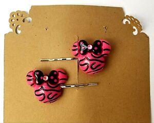 MINNIE HOT PINK ZEBRA HEAD -  Handmade Bobby PIn Hair clips - Set of 2