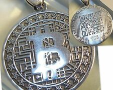bitcoin Your personal QR wallet in Pendant Jewelry 925 sterling silver (c601)
