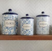 Blue Floral Set of 3 Canisters