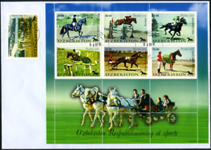 """Usbekistan 2000 """"Pferdesport"""", MiNr 247/3 auf FDC"""