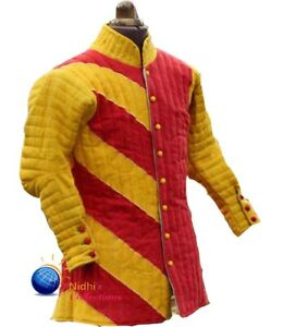 Medieval Thick Padded full Sleeves Gambeson Coat Aketon Jacket SCA LARP