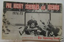 Booklet Pro Hockey Schedules And Records 1974-75