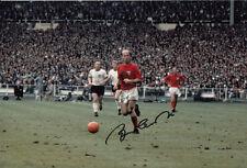 England Hand Signed Bobby Charlton Photo 12x8 1.