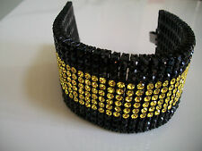 Men's black finish hip hop12 row black/yellow bling raper style fashion bracelet